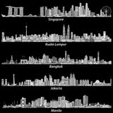 Illustrations abstraites de vecteur de citiesSingapore asiatique, d'horizons de Kuala Lumpur, de Bangkok, de Jakarta et de Manill illustration libre de droits