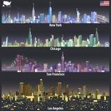 Illustrations abstraites de vecteur des horizons de ville des Etats-Unis dans différentes palettes colorées illustration de vecteur