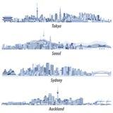 Illustrations abstraites des horizons de Tokyo, de Séoul, de Sydney et d'Auckland dans les teintes du bleu