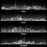 Illustrations abstraites des horizons de Tokyo, de Séoul, de Sydney et d'Auckland la nuit dans les gammes de gris