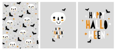 Illustrations abstraites mignonnes de vecteur de Halloween Crânes et battes illustration stock