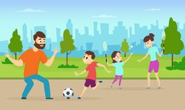 Illustrations of active parents playing sport games in urban park. Funny family couples in cartoon style. Family game sport together, badminton and play Royalty Free Stock Photos