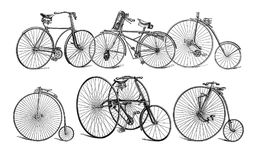 Illustration of old bikes. Stock Photography