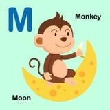 Illustrations-Alphabet-Buchstabe-M-Mond, Affe Stockfoto