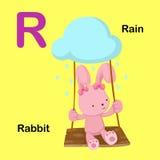 Illustrations-Alphabet-Buchstabe-R-Kaninchen, Regen Lizenzfreies Stockbild