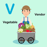 Illustrations-Alphabet-Buchstabe-V-Verkäufer, Gemüse Stockbild