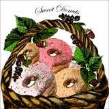 Illustrations avec un beignet et des baies dans un osier Photographie stock