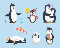 Illustrations of baby pinguins in different poses. Vector cartoon pictures. Penguin baby, animal pinguin character with gift Stock Photography