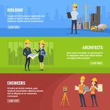Illustrations for banners of builders architects and engineers stock illustration