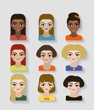 Illustrations of beautiful young girls with various hair style Royalty Free Stock Photo