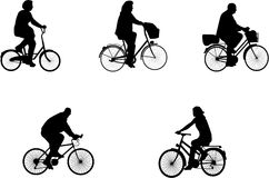 Illustrations of bicycle riders. Vector illustrations of bicycle riders royalty free illustration