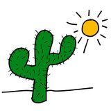 Illustrations of cactus trees in a very hot place Royalty Free Stock Photography