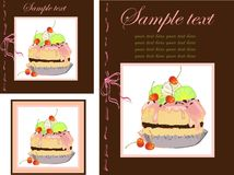 Illustrations of the cake. Menu. Stock Photography