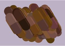 Illustrations of capsules, medicine or pills. Effect, background, backdrop & prescription. Illustrations of capsules, medicine or pills. Good for web page royalty free illustration