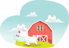 Illustrations of cartoon goats on farms. Vector Illustrations of cartoon goats on farms Royalty Free Stock Photos