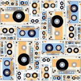 Illustrations of cassette tape pattern. Royalty Free Stock Photo