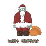 Illustrations-Charakter: Der Zombie-Sankt-Wunsch Sie frohe Weihnachten! stock abbildung