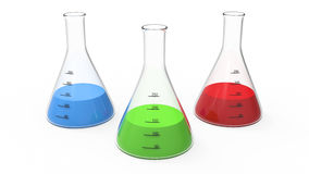 Illustrations-Chemiebirne der Wiedergabe 3D mit einem Grün, Rot, blau Stockbilder