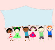 Illustrations of children of different races behind a banner Stock Photos