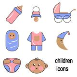 Illustrations, children`s icons, children`s accessories, babies. Royalty Free Stock Photos