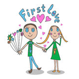 The illustrations in children's style. First love. Stock Photos