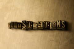 ILLUSTRATIONS - close-up of grungy vintage typeset word on metal backdrop Stock Photos