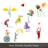 Illustrations collection. Illustrations that symbolize honesty, regret, trust, prayer and growth Royalty Free Stock Image