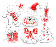 Illustrations collection of Christmas objects Stock Image