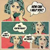 Illustrations for comic books with retro woman in pop art style Stock Images