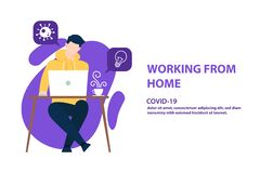 Free Illustrations Concept Coronavirus COVID-19. The Company Allows Employees To Work From Home To Avoid Viruses. Vector Illustrate Stock Photo - 177843670