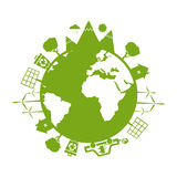 Illustrations of concept earth icons of ecology, environmen Stock Images