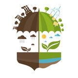 Illustrations concept of umbrella and earth with icons. Of ecology, environment, green energy. Vector Stock Illustration