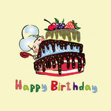 Illustrations cook for a large cake with berries Stock Images