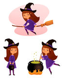 Illustrations of a cute witch girl Royalty Free Stock Photos