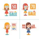 Illustrations d'achats de la publicité avec des caractères de fille Grande bannière de vente d'été Grande vente 70 Label saisonni Photographie stock libre de droits