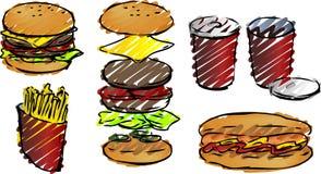 Illustrations d'aliments de préparation rapide Image libre de droits