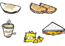 illustrations d'aliments de préparation rapide de dîner Images libres de droits