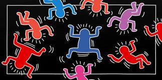Illustrations d'art de bruit d'un petit homme avec des arbres d'enfants et d'animaux et des paysages pour des bannières ou des ca Images libres de droits