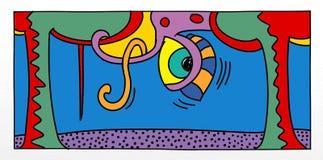 Illustrations d'art de bruit d'un petit homme avec des arbres d'enfants et d'animaux et des paysages pour des bannières ou des ca Images stock