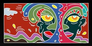 Illustrations d'art de bruit d'un petit homme avec des arbres d'enfants et d'animaux et des paysages pour des bannières ou des ca Photo libre de droits