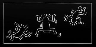Illustrations d'art de bruit d'un petit homme avec des arbres d'enfants et d'animaux et des paysages pour des bannières ou des ca Image stock