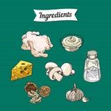 Illustrations d'article d'ingrédients de nourriture illustration libre de droits