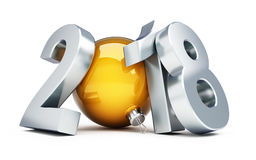 Illustrations 3d de la bonne année 2018 Photo stock