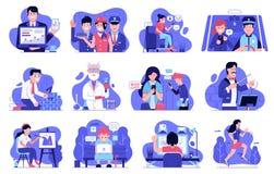 Illustrations d'expérience d'utilisateur avec les personnes informatiques illustration de vecteur