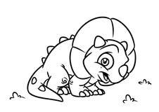 Illustrations de bande dessinée de page de coloration de Triceratops de dinosaure Images libres de droits