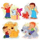 Illustrations de clipart (images graphiques) de petits garçons et de leurs chiens Images libres de droits