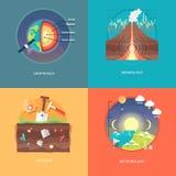 Illustrations de concept d'éducation et de science Géophysique, sismologie, géologie, météorologie illustration libre de droits