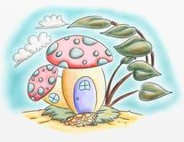 Illustrations de couleur féeriques de l'eau de bande dessinée de maison de champignon Photographie stock libre de droits