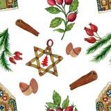 Illustrations de gouache d'aquarelle de modèle de fête de Noël de cru des décorations de Noël image stock