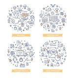 Illustrations de griffonnage de commerce électronique illustration de vecteur